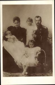 Ak Zar Nikolaus II. von Russland, Alexandra Fjodorowna, Alix von Hessen Darmstadt, Kinder