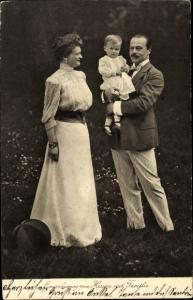 Ak Großherzog Ernst Ludwig von Hessen mit Familie, Eleonore zu Solms-Hohensolms-Lich