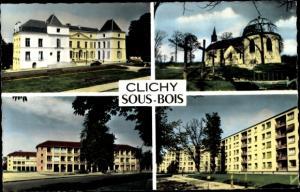 Ak Clichy sous Bois Seine Saint Denis, La mairie, N D des Anges, Domaine de Lorette, Groupe scolaire