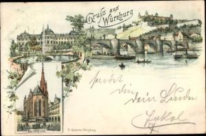 Litho Würzburg am Main Unterfranken, Teilansicht, Brücke, Marienkirche