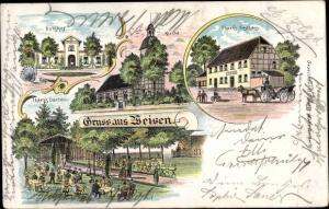 Litho Weisen Prignitz, Theek`s Gasthaus, Gutshof, Kirche