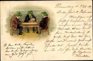 Litho Drei Frösche beim Kartenspiel