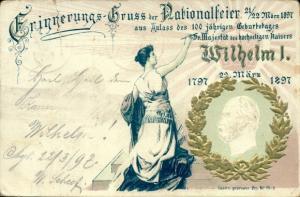 Präge Litho Kaiser Wilhelm I. von Preußen, Nationalfeier 1897