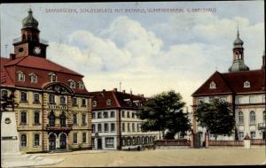 Ak Saarbrücken im Saarland, Schlossplatz, Rathaus, Ulanendenkmal, Kreishaus