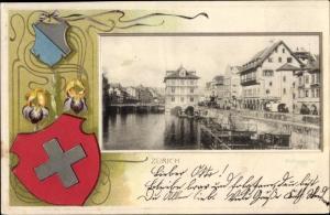 Wappen Ak Zürich Stadt Schweiz, Rathausquai, Blumen