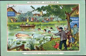 Ak Werbung, Chocolat Lombart, La Fete au Village, La Course au Cochon, schwimmendes Schwein