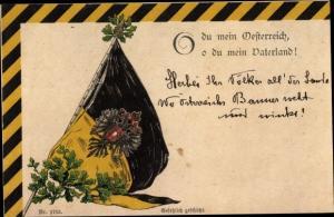 Präge Litho O du mein Österreich, Fahne, Eichenlaub