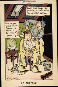 Künstler Ak Le Coiffeur, Soldaten, Friseur