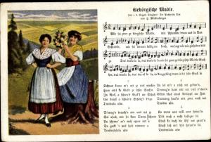 Lied Ak Mückenberger, Hilmar, Gebörgische Madle, Junge Frauen in Trachten, Erzgebirge