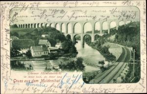 Ak Göhren Wechselburg, Blick auf die Göhrener Brücke über das Muldental, Viadukt