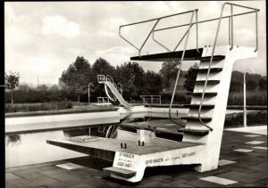 Ak Ramsdorf Velen Münsterland, Schwimmbad, Sprungturm, Wasserrutsche