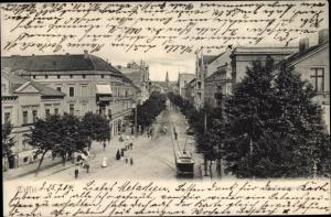 Ak Sowjetsk Tilsit Ostpreußen, Straßenbahn, Straßenpartie