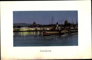 Ak Genève Genf Schweiz, Flusspartie mit Salondampfer