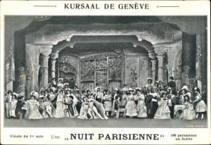 Ak Genève Genf Stadt, Kursaal, Nuit Parisienne, Finalue du 1er acte, Theaterszene