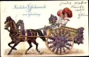 Präge Litho Glückwunsch Geburtstag, Junge und Mädchen in Pferdekutsche, Blumen