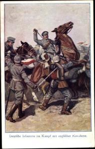 Künstler Ak Deutsche Infanterie im Kampf mit englischer Kavallerie