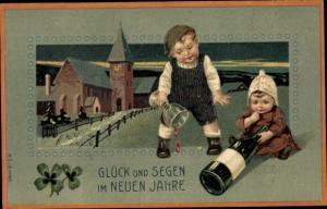 Präge Litho Glückwunsch Neujahr, Kinder, Sektflasche, Kirche, Kleeblätter