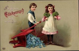 Litho Glückwunsch Neujahr, Kinder, Kleeblätter, Schubkarre, Vergissmeinnicht