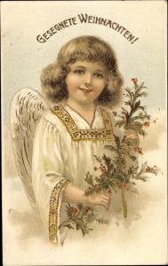 Präge Litho Glückwunsch Weihnachten, Engel mit Stechpalmenzweig