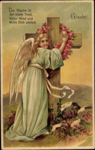 Präge Litho Allegorie Glaube, Engel, Rosen, Kreuz