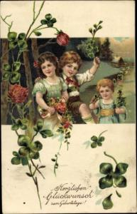 Präge Litho Glückwunsch Geburtstag, Kinder, Kleeblätter