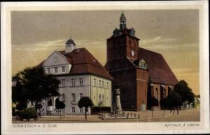 Ak Dommitzsch Elbe Nordsachsen Sachsen, Rathaus und Kirche