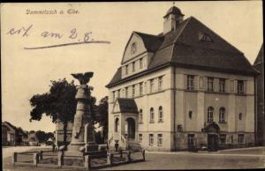 Ak Dommitzsch Elbe Nordsachsen Sachsen, Rathaus und Kriegerdenkmal