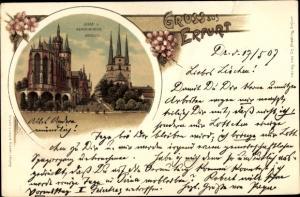 Passepartout Ak Erfurt in Thüringen, Dom und Severikirche