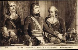 Künstler Ak Couder, Installation du Conseil d'Etat au Petit Luxembourg, Napoleon Bonaparte