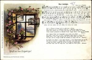 Lied Ak Günther, Anton, Mei  Zässichl, Erzgebirge, Vogelkäfig am Fenster, Wilhelm Vogel