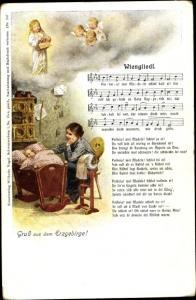 Lied Ak Vogel, Wilhelm, Nr. 10, Wiengliedl, Erzgebirge, Mutter mit Kind in der Kinderwiege, Engel