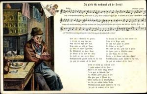 Lied Ak Schneider, Rud., Itz gieh ich nochmol off dr Freit, Wilhelm Vogel, Mann, Kachelofen