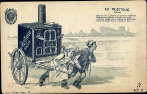 Litho Le Rustique, Odelin, Koch mit Herd