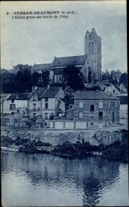 Ak Persan Beaumont Val-d'Oise, L'Eglise prise des bords de l'Oise