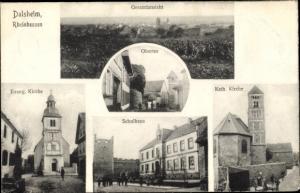 Ak Dalsheim Rheinhessen, Gesamtansicht, Kirchen, Obertor, Schule
