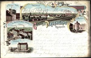 Litho Dalsheim Rheinhessen, Totalansicht, Schule, Alter Turm, Merkel'sche Möbelfabrik