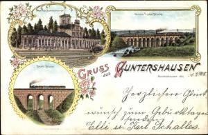 Litho Guntershausen Baunatal im Landkreis Kassel, Große Fuldabrücke, Bauna Brücke, Bahnhof