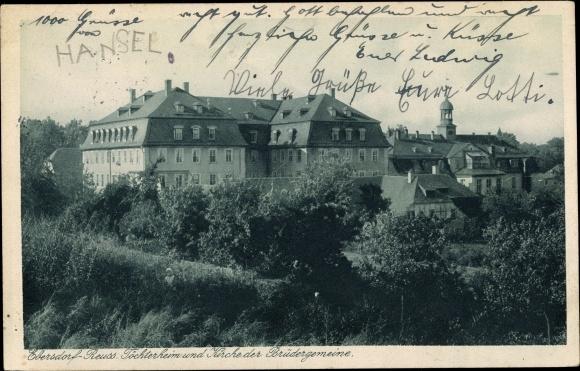 Ak Ebersdorf Löbau in Sachsen, Reuss. Töchterheim, Kirche der Brüdergemeinde, Gesamtansicht 0