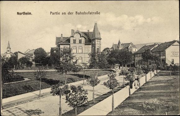 Ak Northeim in Niedersachsen, Partie an der Bahnhofstraße 0