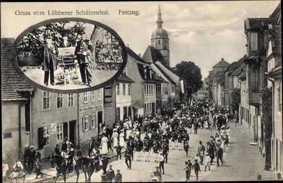 Ak Lübben im Spreewald, Festzug, Schützenfest 0