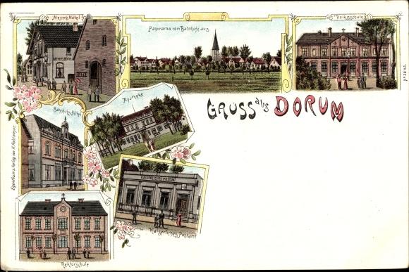 Litho Dorum Wurster Nordseeküste Landkreis Cuxhaven, Volksschule, Apotheke, Postamt, Hotel 0