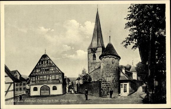 Ak Dörrenbach in Rheinland Pfalz, Altes Rathaus, Kirchturm 0