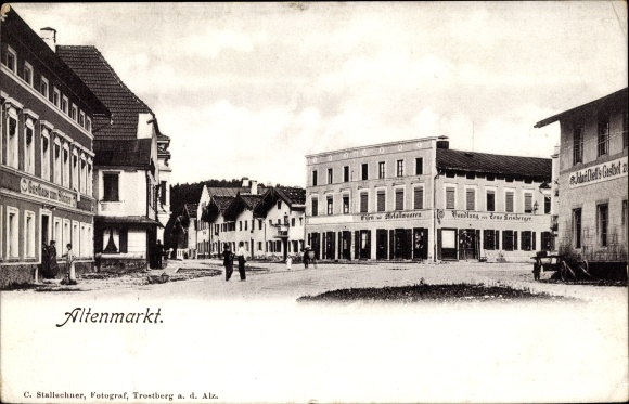 Ak Altenmarkt am Inn Neubeuern in Oberbayern, Platz, Geschäfte, Gasthof 0