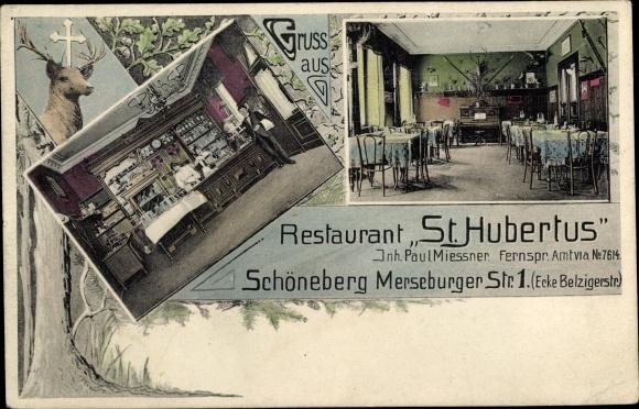 Ak Berlin Schöneberg, Restaurant St. Hubertus, Merseburger Straße 1, Innenansicht 0