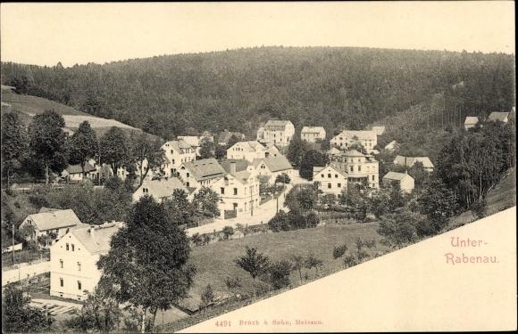 Ak Unterrabenau Rabenau im Erzgebirge, Blick auf den Ort 0
