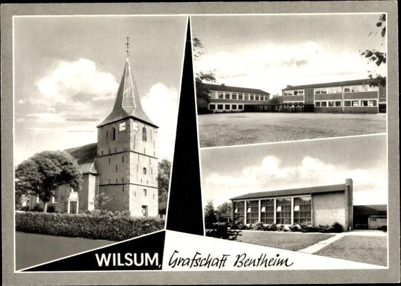Ak Wilsum Grafschaft Bentheim, Kirche, Schule 0