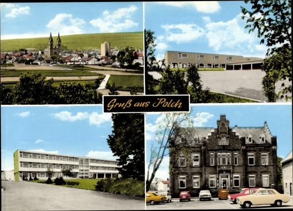 Ak Polch Kaisersesch im Landkreis Cochem Zell Rheinland Pfalz, Rathaus, Schule, Totalansicht 0