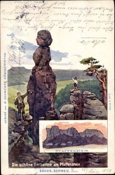Künstler Ak Königstein an der Elbe Sächsische Schweiz, Barbarine, Pfaffenstein, Kletterer 0