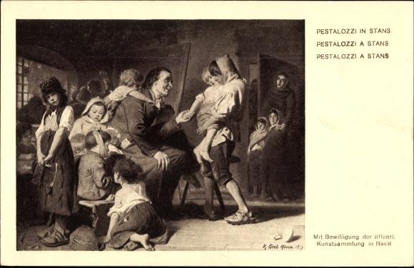 Ganzsachen Künstler Ak Grob, K., Stans Kt. Nidwalden Schweiz, Pestalozzi, Bundesfeier 1914 0