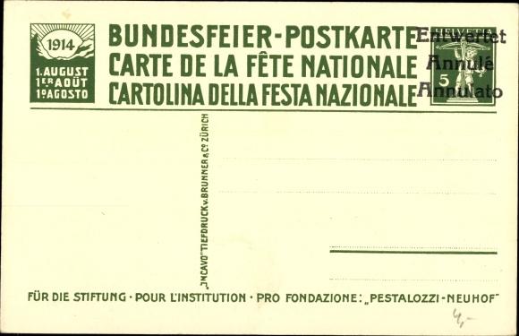 Ganzsachen Künstler Ak Grob, K., Stans Kt. Nidwalden Schweiz, Pestalozzi, Bundesfeier 1914 1